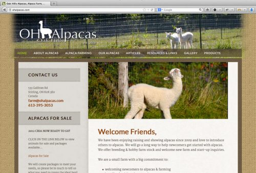 Oak Hills Alpacas Website