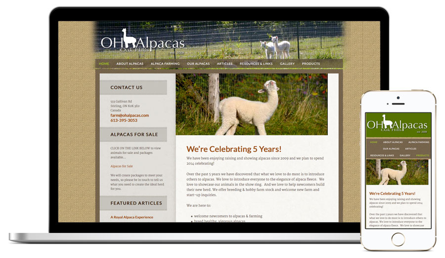 Oak HIlls Alpacas Web Design