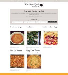 Eat Real Food Academy Website Design Recipes Archive Page